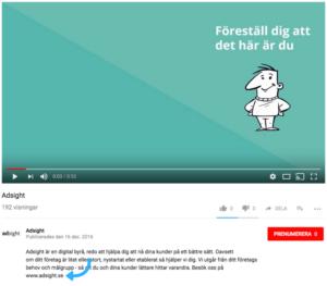 YouTube - Länk i beskrivning